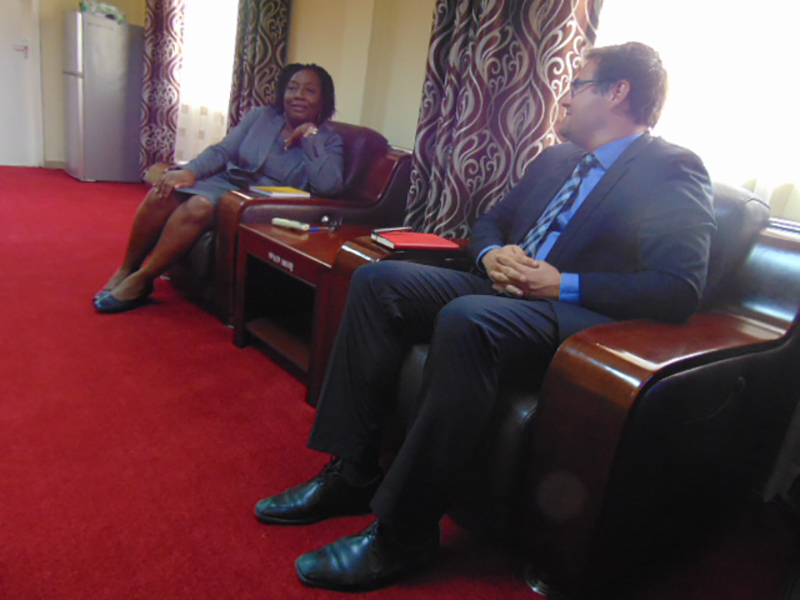 EITI Regional Director Pablo Valverde raps with SLEITI MSG Chair and Minister of State Frances Piagie Alghali