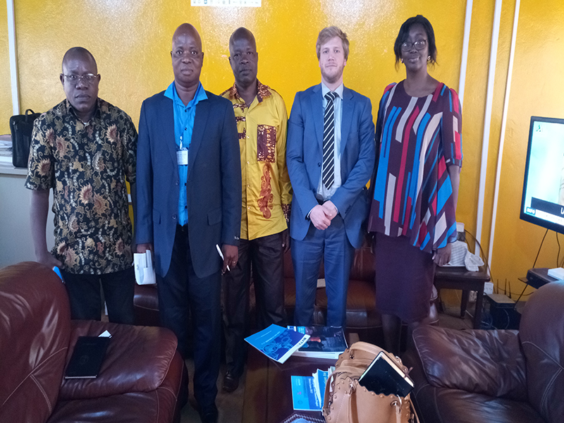 Officials of the Statistics Sierra Leone ( 1st 3 from left) posed with EITI Secretariat Technical Manager and SLEITI National Coordinator Mina Horace